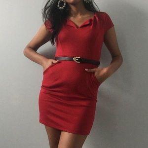 Dresses & Skirts - Red v-neck bodycon mini dress
